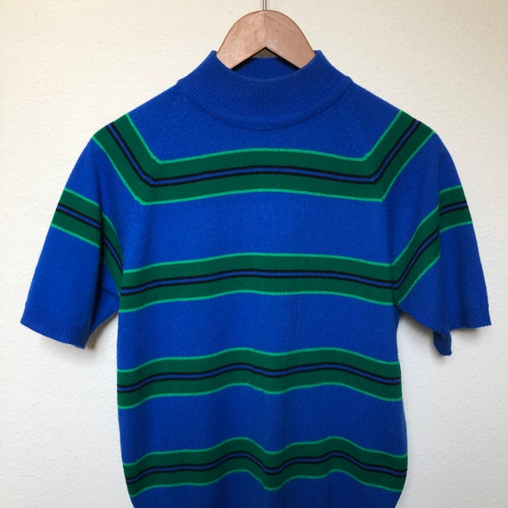 Vintage striped mock neck sweater blue green strip