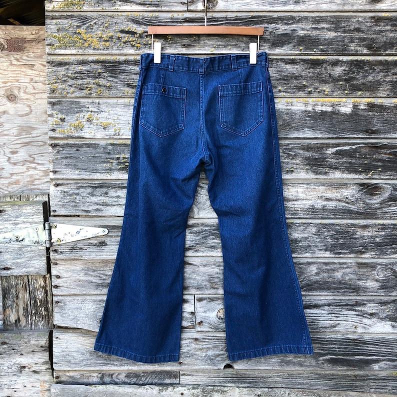 8a014737f8 Vintage bell bottom jeans Seafarer Dungaree navy denim