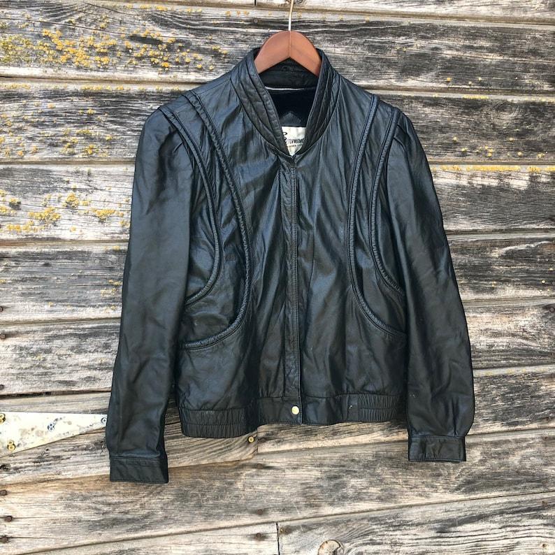 5f039d6f2 80s vintage black leather motorcycle jacket bomber women L ladies moto  biker jacket cyberpunk 1980s new wave vamp witchy 70s disco Berman's