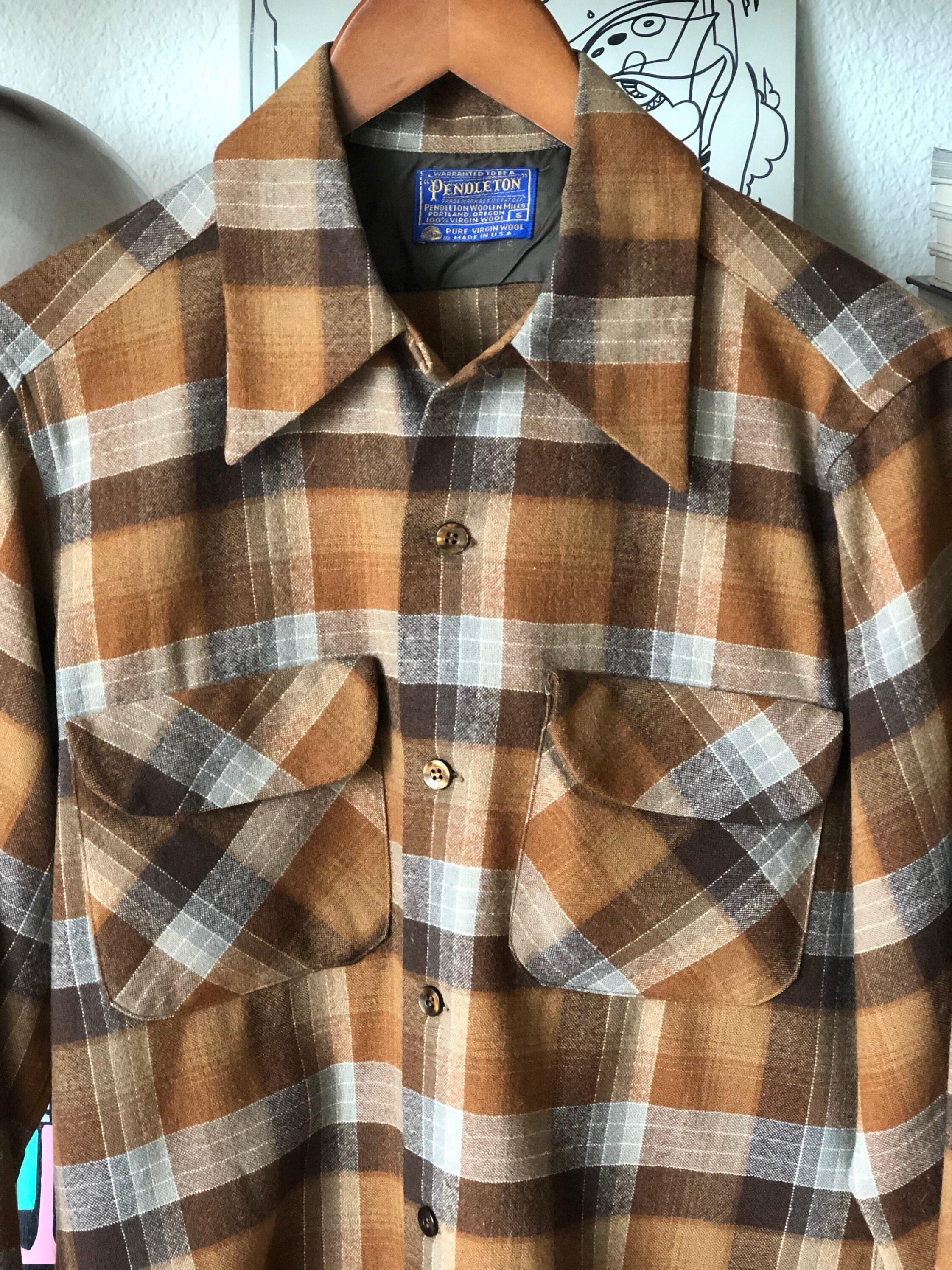 1950s Mens Hats | 50s Vintage Men's Hats Vintage Pendleton S Mens Brown Plaid Wool Flannel Shirt Loop Collar Flap Pockets 1950S Rockabilly 50S Grunge 60S Man 1960S Unisex 38 Chest $8.00 AT vintagedancer.com