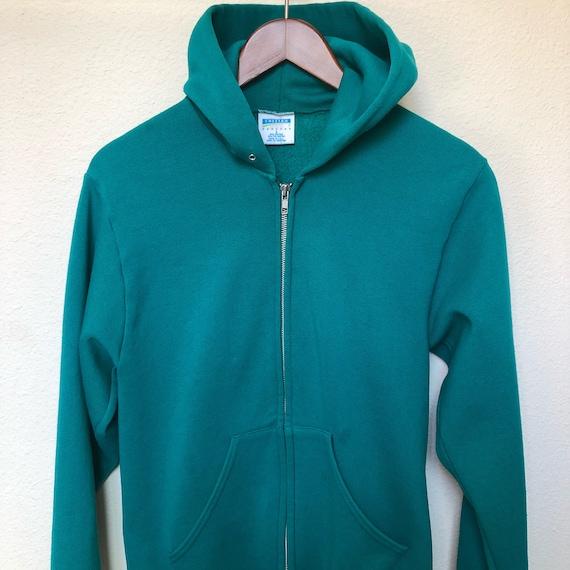 Vintage turquoise hooded sweatshirt zip up teal hoodie 90s  7a6d756232bd