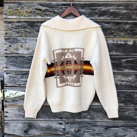 70s vintage southwestern cowichan sweater tribal aztec native navajo Pendleton style 1970s bohemian boho sweater brown burnt orange festival