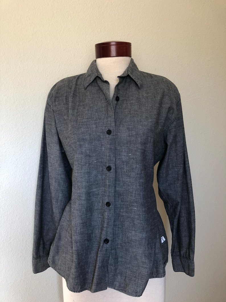 Vintage GUESS blouse chambray long sleeve 80s 90s Georges Marciano 1990s top shoulder pads fitted size 4 M medium gift