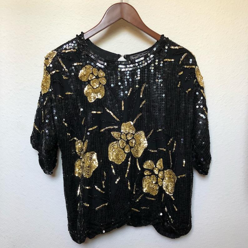 e72714774df11 Vintage sequined blouse black gold floral 80s glam 1980s sheer