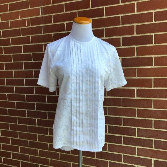 VTG 80s Silky Plaid Secretary Boxy Dress Blouse Top SM