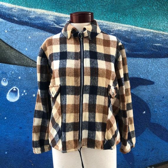 Vintage plaid jacket women's L brown navy blue che