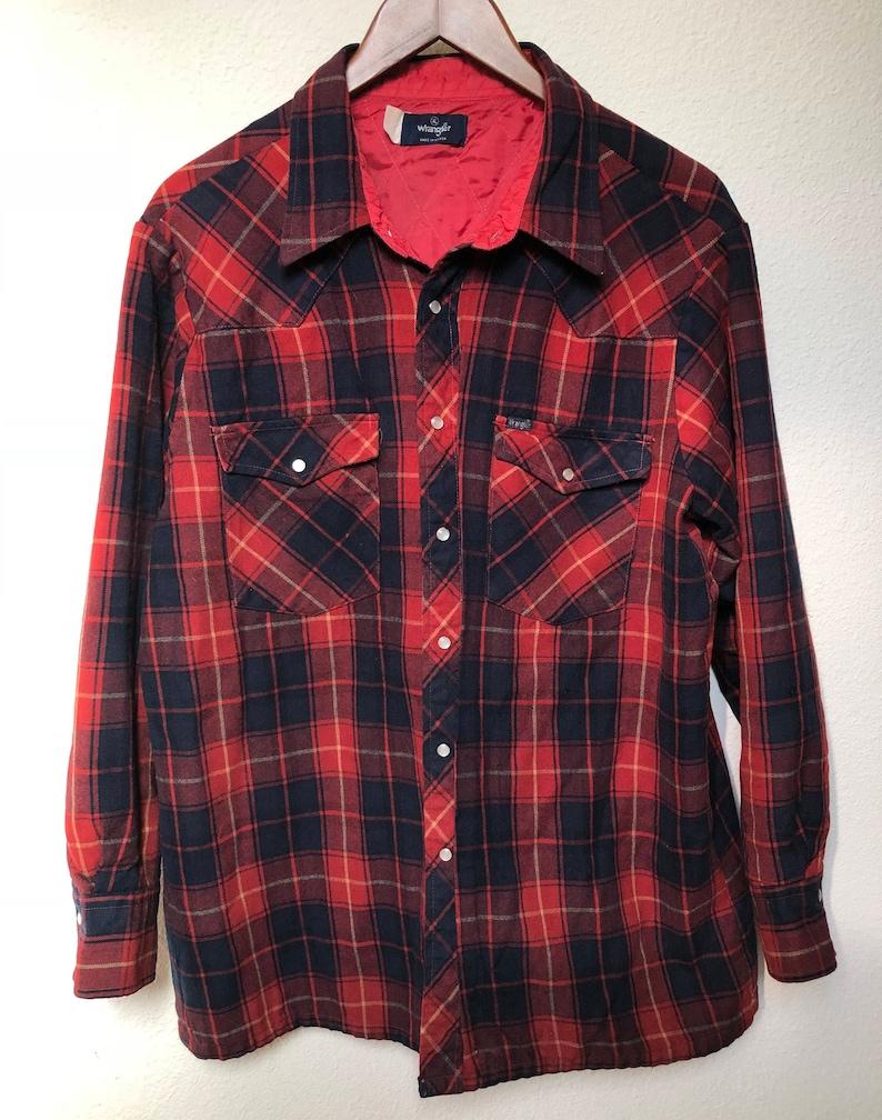 f0b3486fdf3 Vintage Western flannel jacket red plaid Wrangler vtg pearl