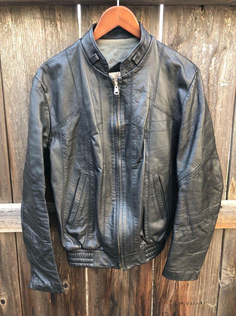 946bcf20b Vintage black leather jacket cafe racer motorcycle biker jacket patchwork  leather bomber jacket vtg size 40 gift men M medium man