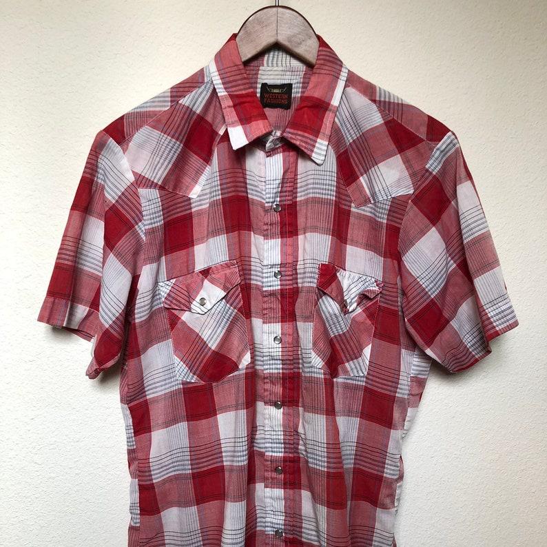 139c1807 Vintage red plaid western shirt short sleeve pearl snap cowboy   Etsy