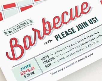 BBQ Invitation, Summer Party Invitation, Picnic Invite // BARBECUE TIME