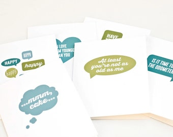 Humorous Birthday Card Set, Minimalist Birthday Cards // TALK BUBBLES