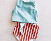 Made to Order reversible swimsuit sky blue red stripe cropped top high waisted Free Fallen Kids