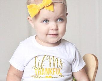 Lil Miss Thankful - Arrow Shirt - Thankful Arrow Shirt - Thanksgiving Shirt - Thankful Shirt - Fall Shirt - Glitter Shirt- Kids Thankful Tee