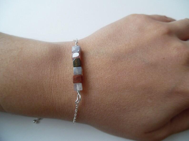 Stacking Silver Bracelet Dainty Beaded Bracelet Gemstone StackingBracelet Sterling Silver Gemstone Bracelet Silver Jasper Bar Bracelet