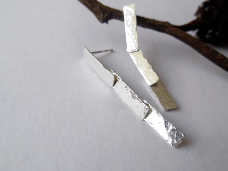 Linked  Drop Earrings,Rectangle Drop Earrings Handmade Sterling silver Rectangle Stud Earrings Silver Dangle Earrings