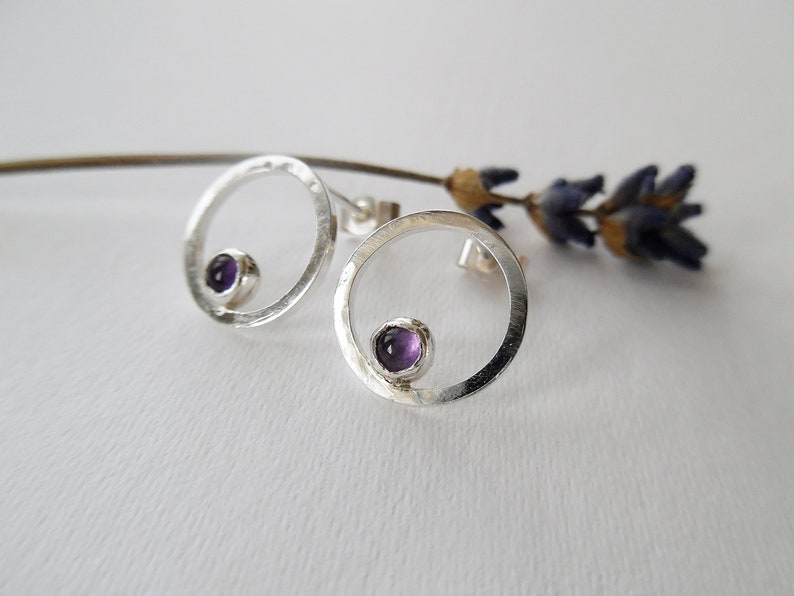Small Silver Earrings Sterling silver Circle Stud Earrings Open Circle Studs Amethyst Stud Earrings Handmade