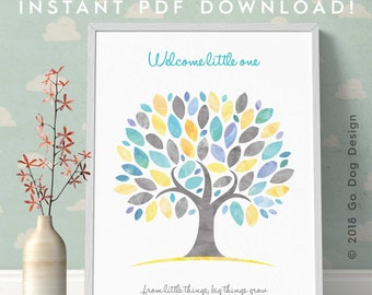 INSTANT DOWNLOAD 11x14 Baby Shower Poster Guest Book Alternative, Digital Printable in Yellow/Aqua/Grey, Just Print Yourself, Frame & Sign!