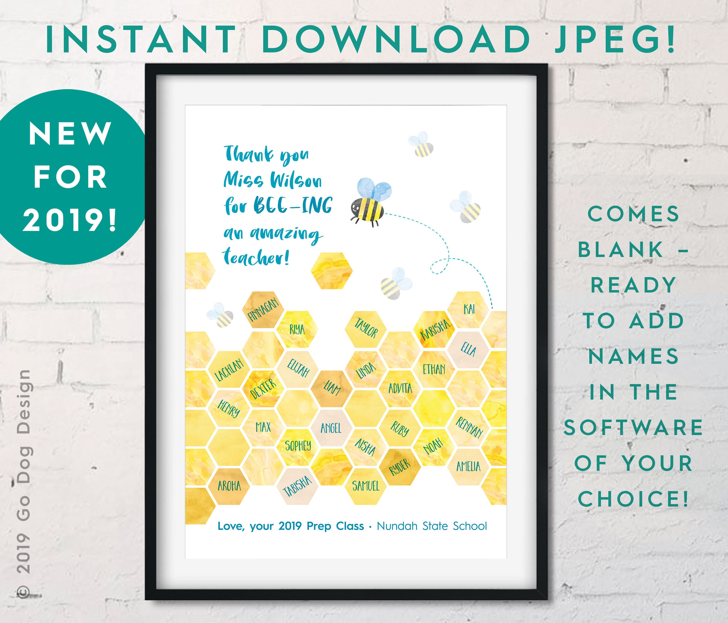 Amelia Karisha Pictures instant download 8x10 teacher bee/beehive jpeg, do it yourself blank  digital printable, end of year/class/appreciation gift, customizable!
