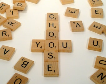 Scrabble Individual Tiles You Pick Letters Authentic Wood Alphabet A To Z Choose Your Initials