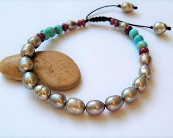 Silver grey Freshwater pearl bracelet with Ruby and Turquoise gemstone - pull out - 6 Inches - Yoga - Buddha - Tibetan style -