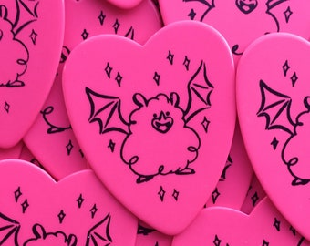 0.71mm Bat on Hot Pink Heart Shaped Plectrum