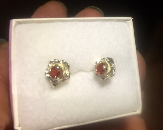 Sweetest Rose Orange Red Fire Opal Sterling silver Gemstone Earrings /Ring /set of 3 genuine fine jewelry handmade size 2 3 4 5 6 7 8 9 10