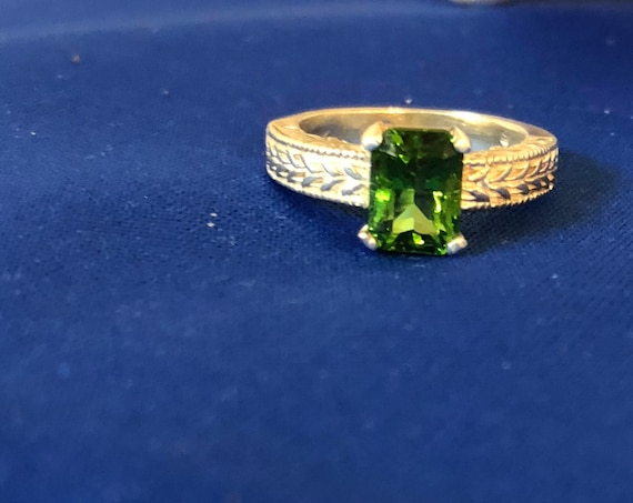 Genuine Helenite Sterling Silver Ring Patterned Band green handmade custom faceted emerald cut 8x6mm size 4 5 6 7 8 9 10 11 fine jewelry