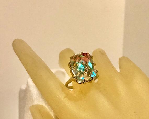 Angelic Aurora Quartz Emerald Cut Sterling Silver Ring rainbow blue custom size handmade 4 5 6 7 8 9 10 11 12 hal