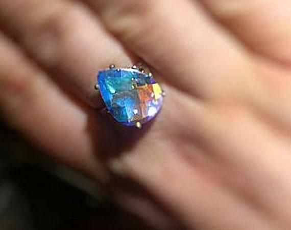 Angelic Aurora Borealis Rainbow Quartz Teardrop Sterling Silver Ring blue purple orPendant handmade fine jewelry size 3 4 5 6 7 8 9 10 11 12