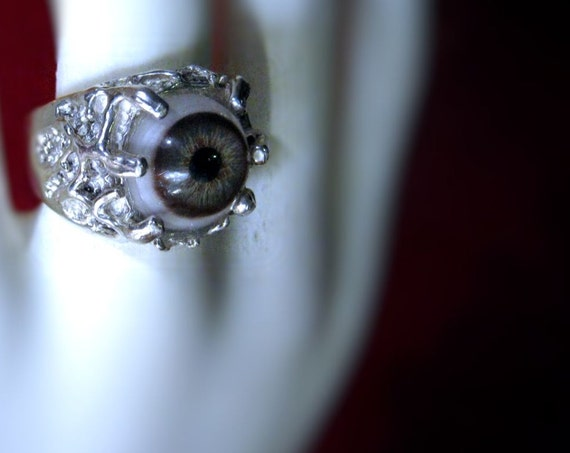 Unisex MoNsTeR InSiDe Hazel Eye Ring Sterling Silver handmade Oddity Strange Gray Blue Green size 6 7 8 9 10 11 12 13 fine jewelry mens