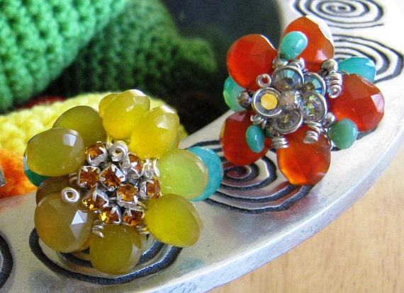 Flowers of Spring Yellow Chalcedony Stone petals Spanish adjustable ring handmade Orange Swarovski crystal stretch one of a kind