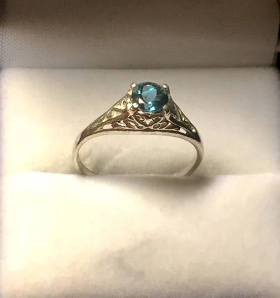 London Blue Topaz Sterling Silver Filigree Ring handmade amethyst yellow citrine white opal fine jewelry size 3 4 5 6 7 8 9 10 11