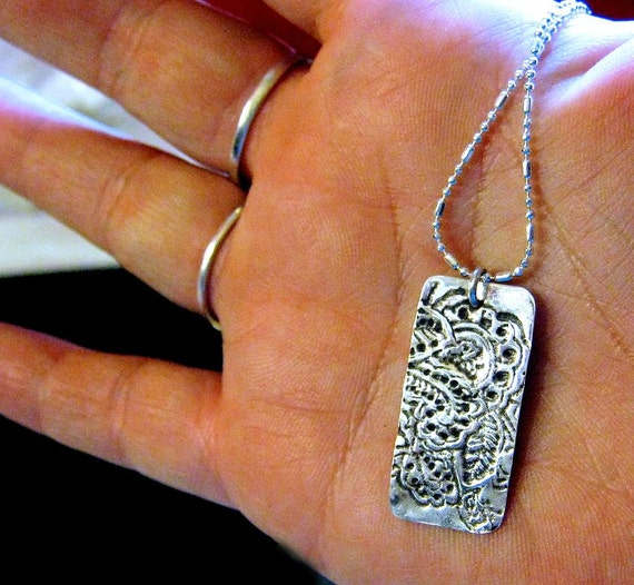 Keepsake Pendant Your Artwork PMC Fine Silver Handmade for Dad & Mom Necklace Sterling jewelry 18 inch chain custom Precious Metal Clay