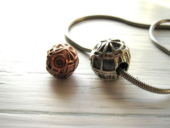 Come Over To The Dark Side /Hand Formed Death Star Copper PMC/ Precious Metal Clay Handmade unique pendant necklace bead large hole 5mm