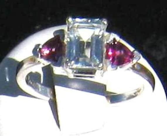 White Topaz 3 stone Sterling Silver Ring Handmade Green Emerald Tsavorite Pink Sapphire Purple Tanzanite Fine jewelry half 3 4 5 6 7 8 9 10