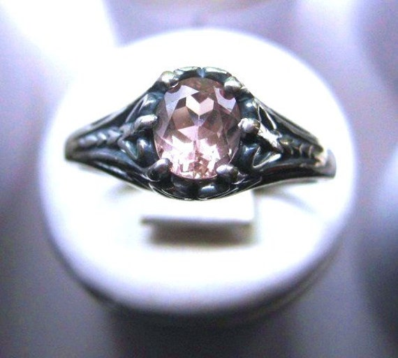 Antique Style Pale Pink Morganite Ring Sterling Silver filligree handmade Custom size 4 5 6 7 8 9 10 half sizes 14k yellow gold fine jewelry