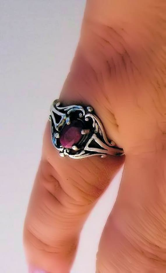 Sweet Genuine Red Ruby Ring Sterling Silver Antique Classic Style Scroll Frendship pinky handmade fine jewelry size 3 4 5 6 7 8 9 10 half