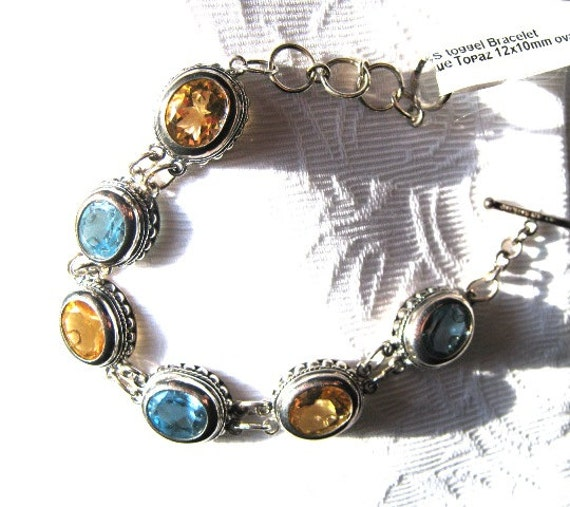 26 Carat total Gemstone Weight 12x10mm faceted Blue Topaz Golden Citrine Bracelet Sterling Silver handmade 6.5 7 7.5 inch wrist fine jewelry