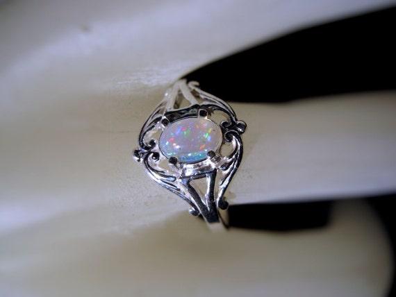 Sweet Opal Swirl Ring Sterling Silver handmade fine jewelry Ethiopian Faceted red blue orange white black Adomuka size 3 4 5 6 7 8 9 10 11
