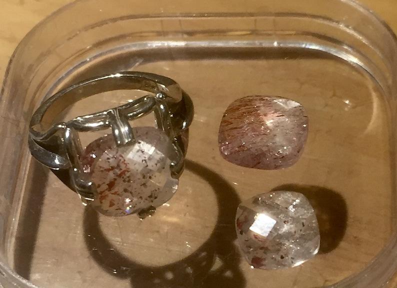 Cushion Cut Strawberry Quartz ring Lepidocrosite clear red black collector gem sterling silver handmade fine jewelry 5 6 7 7.5 8 9 10 half