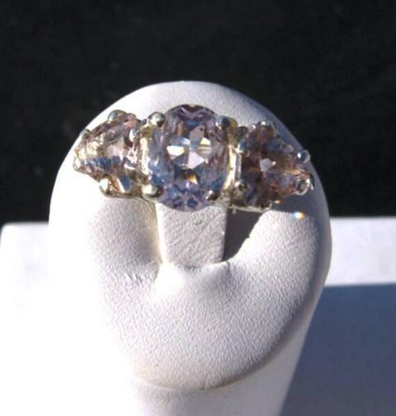 Pale Pink/ Peach Morganite Trillion Three Stone Ring Sterling Silver handmade 4 5 6 7 8 9 10 half sizes fine jewelry