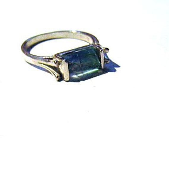 East/ West Design Green Tourmaline Mineral Specimen Ring Sterling Silver Handmade Unisex size 7 8 9 10 11 12 13 pink black unique