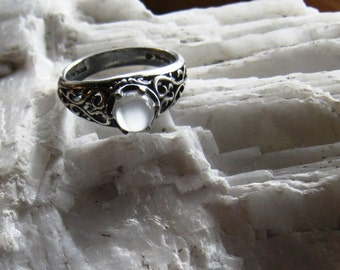 Luminous Moonstone White Catseye Ring Antiqued Sterling Silver Filigree Scroll work gypsy handmade fine jewelry 1/2 size 4 5 6 7 8 9 10 11