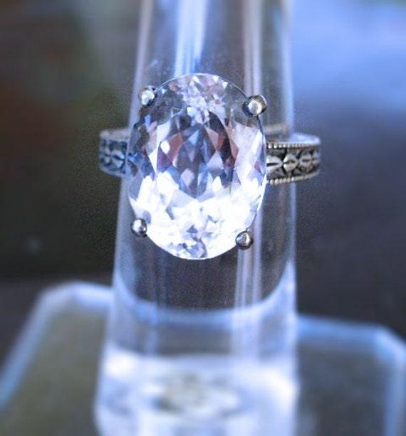 WoW Diamond like White Kunzite genuine gemstone 16x12mm Heavy Sterling Silver band Ring handmade size 4 5 6 7 8 9 10 half fine jewelry