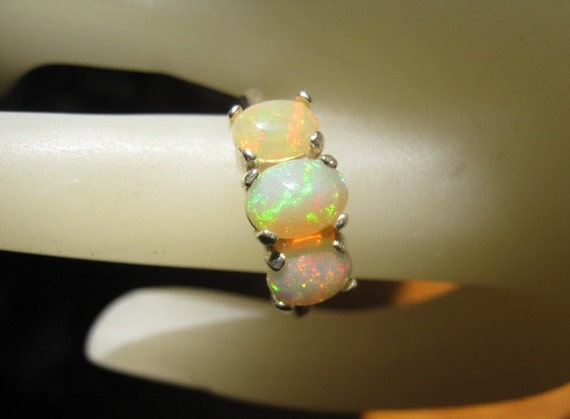 3 Stone Genuine Ethiopian Opal Ring Sterling Silver Fiery white orange red yellow green blue handmade 5 6 7 8 9 10 11 1/2 sizes fine jewelry