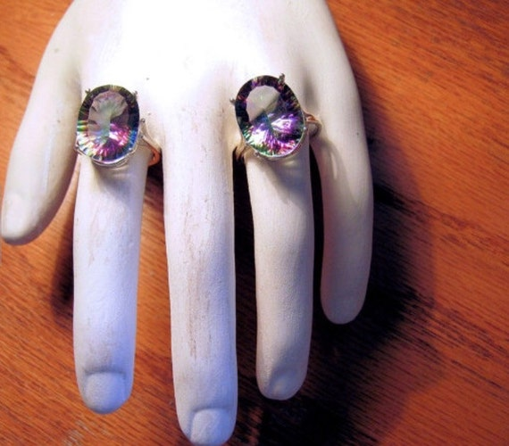 Mystic Rainbow Quartz Quantum Cut choice of 18x13 or 16x12mm sterling silver ring earrings blue purple handmade 4 5 6 7 8 9 10 11 12 hal