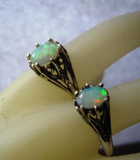 SaLe NoW/ Genuine Ethiopian Opal Mesmerizing Fiery orange red blue green purple Sterling Silver Filigree Ring custom handmade fine jewelry