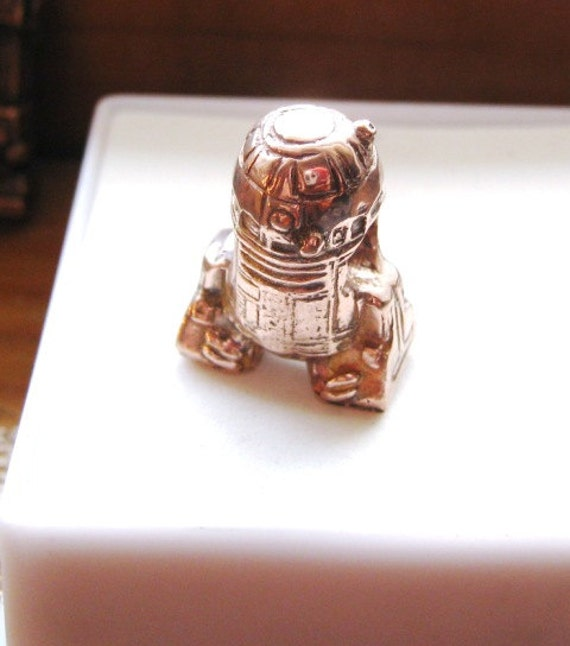 Hey R2 Do You Remember Princess Leia Handmade Large 5mm Hole Charm Copper/ Fine Silver jewelry R2D2 bead C3P0 Darth Vader Custom bracelet