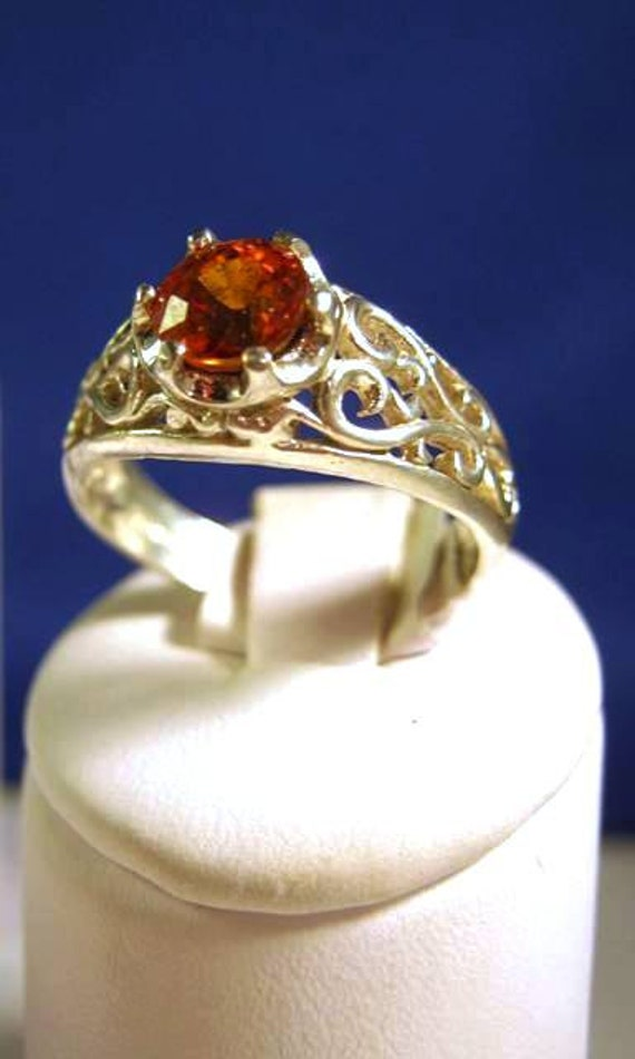 Sparkling Orange/ Red Spessartite Garnet Ring Sterling Silver Scroll pattern handmade fine jewelry unisex size 4 5 6 7 8 9 10 11 half sizes
