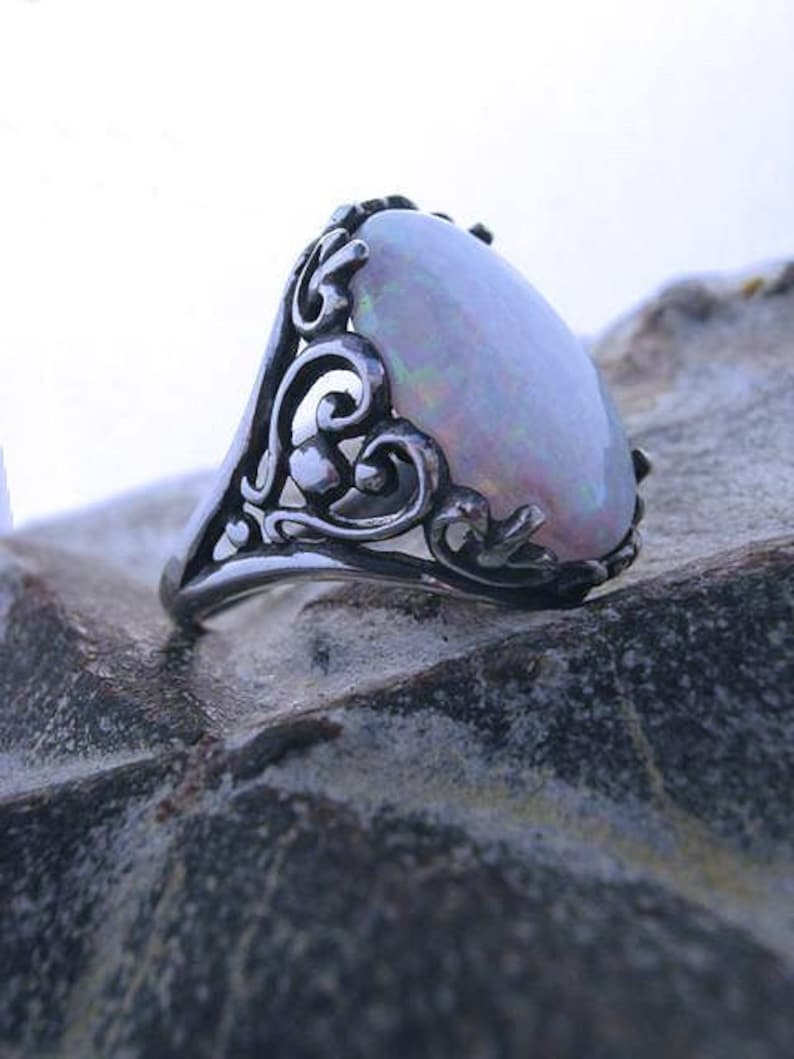 14x10mm Lab Created white Opal Ring Heart Scroll sterling image 0